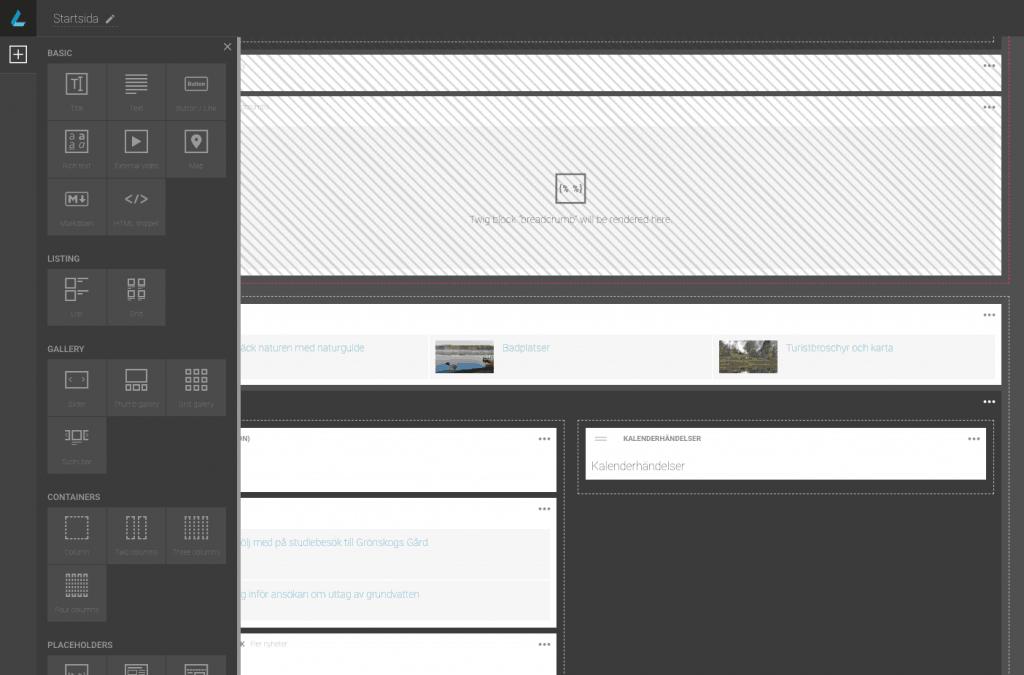 Tack vare funktionen Netgen Layouts, kan man enkelt skapa unika designer för olika sidor och sidtyper.